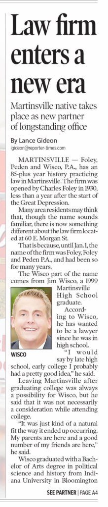 Part 1 of newspaper article with headlines about Foley Peden & Wisco, P.A. | Law Firm Enters a New Era