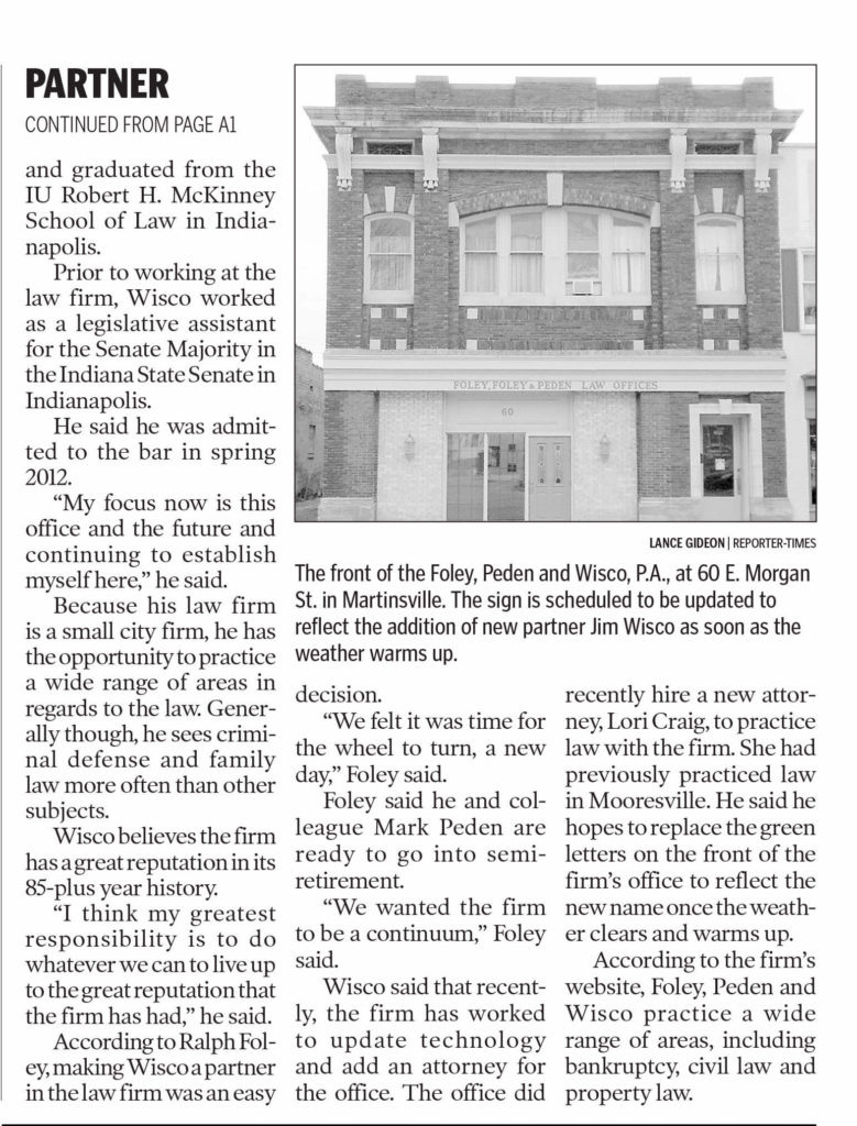 Part 2 of newspaper article with headlines about Foley Peden & Wisco, P.A. | Law Firm Enters a New Era